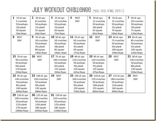 july workout challenge